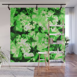 Metallic green glowing dark golden stars on a light background in the projection. Wall Mural