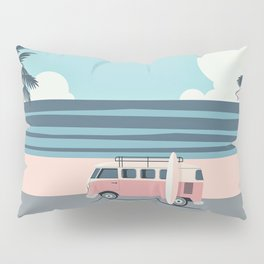 Surfer Graphic Beach Palm-Tree Camper-Van Art Pillow Sham