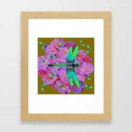 EMERALD DRAGONFLIES  PINK ROSES AVOCADO COLOR Framed Art Print