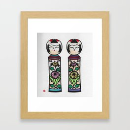Kokeshi girls Framed Art Print