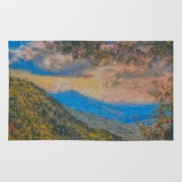 Distant Mountains Impressionistic Rug