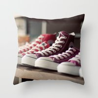converse Throw Pillows featuring Converse by whitney b