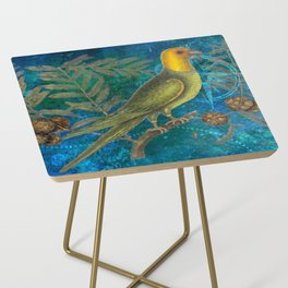 Carolina Parakeet with Cypress, Antique Natural History and Botanical Side Table