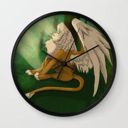Gryphon in a Forest Wall Clock