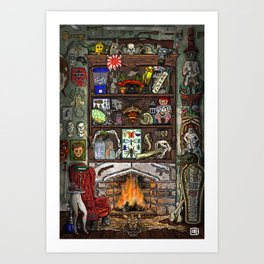 Creepy Cabinet of Curiosities Art Print