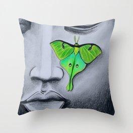Buddha with Luna Moth Throw Pillow