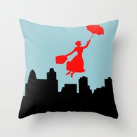 mary poppins Throw Pillows featuring Mary Poppins  by Sammycrafts