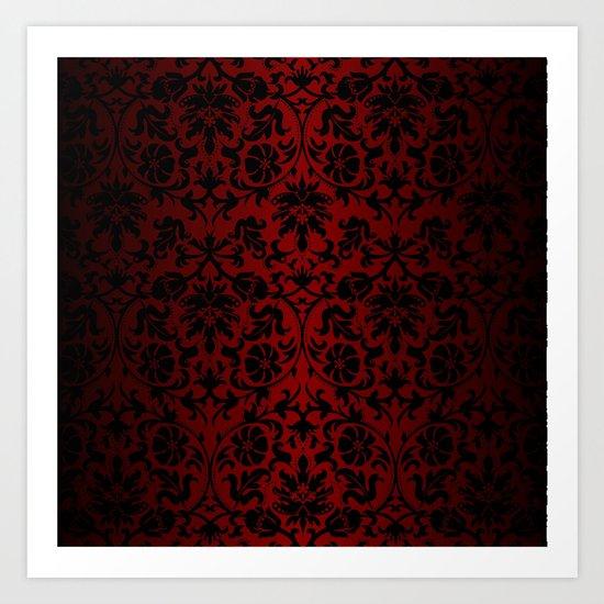 Dark Red and Black Damask by donnasiegrist