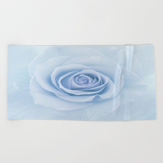 Soft Baby Blue Rose Abstract Beach Towel