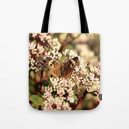 Buckeye Butterfly On Pale Pink Flowers Tote Bag