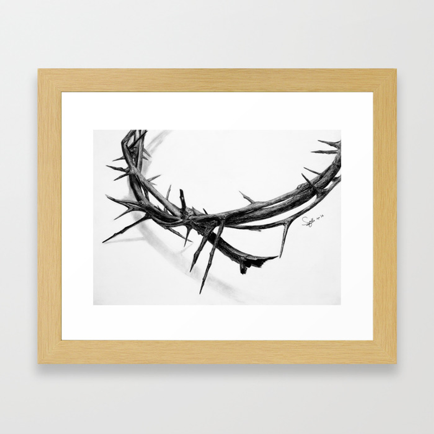 Crown of thorns pencil drawing framed art print