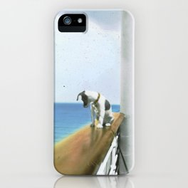 Jack Russell or Boston Terrier dog on steamship vintage Brooklyn painting iPhone Case