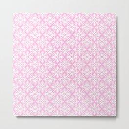 Damask (White & Pink Pattern) Metal Print