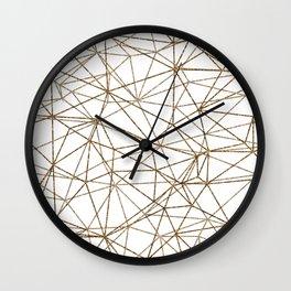 Geometric triangles glitter pattern. Modern stylish texture. Gold trendy glitter print background Wall Clock
