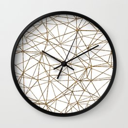 Geometric triangles glitter pattern. Modern stylish texture. Gold trendy glitter print background Wall Clock