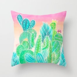 Modern tropical exotic summer cactus illustration pink ombre watercolor Throw Pillow