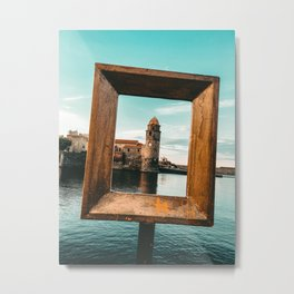 Medieval Collioure Church | Notre-Dame-des-Anges Mediterranean Coast France Teal Metal Print