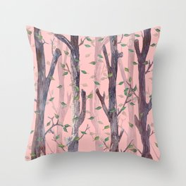 Forest Pink Throw Pillow