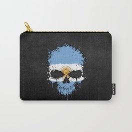 Flag of Argentina on a Chaotic Splatter Skull Carry-All Pouch
