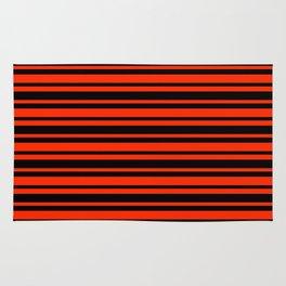 Bright Red and Black Horizontal Var Size Stripes Rug
