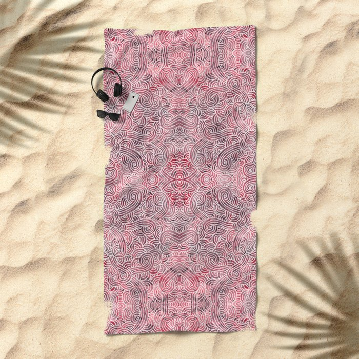 Burgundy red and white swirls doodles Beach Towel