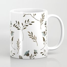Bluebells and Bluebirds Floral Pattern Flowers in Blue and Bark Brown Coffee Mug