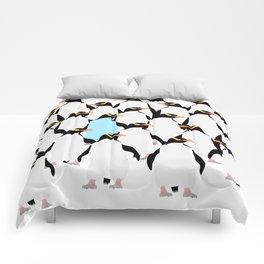 Penguins of a color flock together Comforters