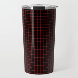 Dark Red Grid Travel Mug