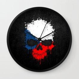 Flag of Czech Republic on a Chaotic Splatter Skull Wall Clock