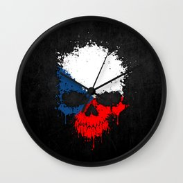 Flag of Czech Republic on a Chaotic Splatter Skull Wall Clock