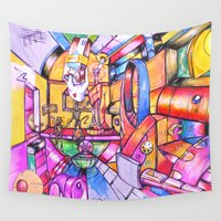 robots Wall Tapestries featuring Happy Robots by Erick Stow