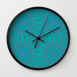 Turquoise Teal Pinwheel Flowers Wall Clock