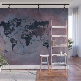 world map 141 red blue #worldmap #map Wall Mural