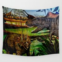 dinosaurs Wall Tapestries featuring DINOSAURS by shannon's art space