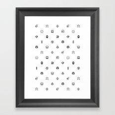 Super Mario Items White Framed Art Print