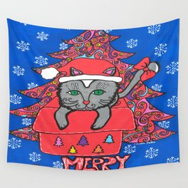 CHRISTMAS CAT 001 Wall Tapestry