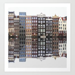 Typical Dutch houses built by the canal, Amsterdam, Netherlands photography Art Print