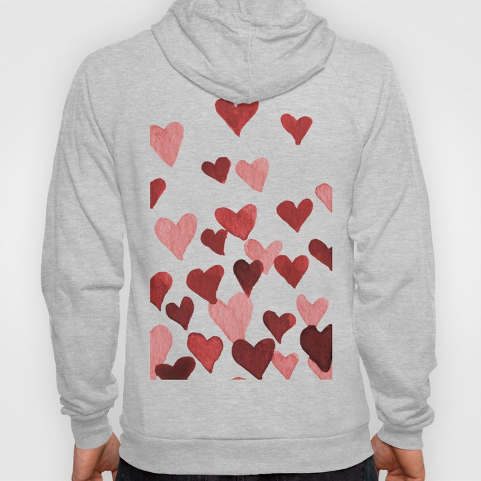 Valentine's Day Watercolor Hearts - red Hoodie