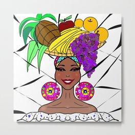 Cuban Woman with fruit hat .Cuba. Metal Print