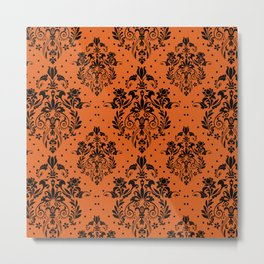 Vintage black orange halloween floral damask Metal Print