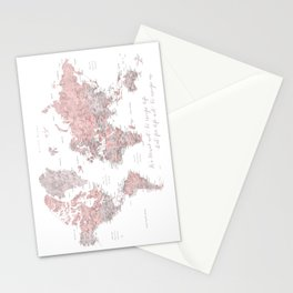 We travel not to escape life, dusty pink and grey watercolor world map Stationery Cards