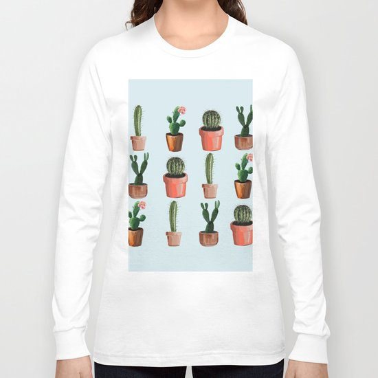 Various Cacti Light Blue Long Sleeve T-shirt