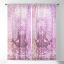 Spiritual Yoga Meditation Zen Colorful Sheer Curtain