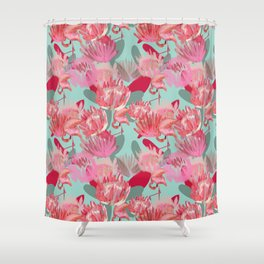 Flamingos and Proteas Shower Curtain