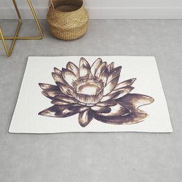 Lilly loto flower draw Rug