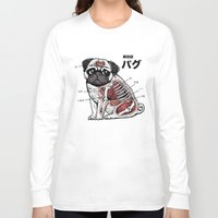 anatomy Long Sleeve T-shirts featuring Pug Anatomy by Huebucket