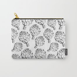 Artichokes. Monochrome black and white pattern. Sketch style vegetables artichokes on a white backgr Carry-All Pouch