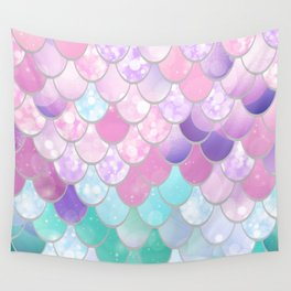 Mermaid Sweet Dreams, Pastel, Pink, Purple, Teal Wall Tapestry