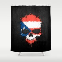 puerto rico Shower Curtains featuring Flag of Puerto Rico on a Chaotic Splatter Skull by Jeff Bartels