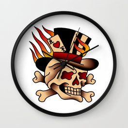 Fiery Top Hat Skull Wall Clock